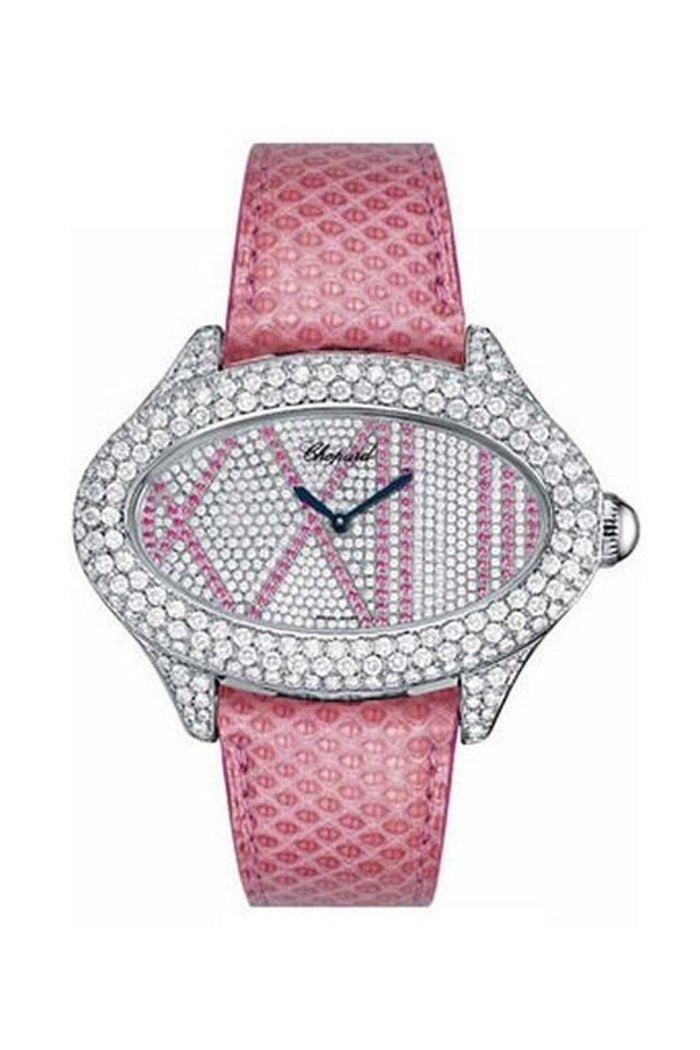 Chopard Montres Dame Cat Eye Diamond Dial Pink Lizard Skin Ladies Quartz Watch137146-1004