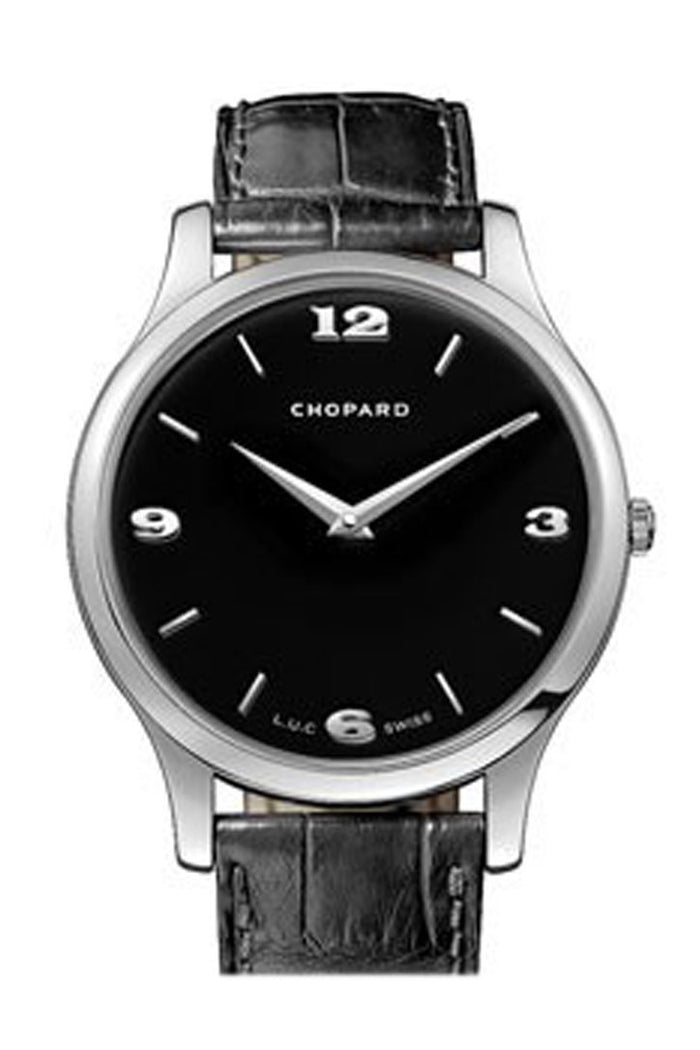 Chopard L.U.C Classic XP Black Dial White Gold Leather Men's Watch 161902-1001
