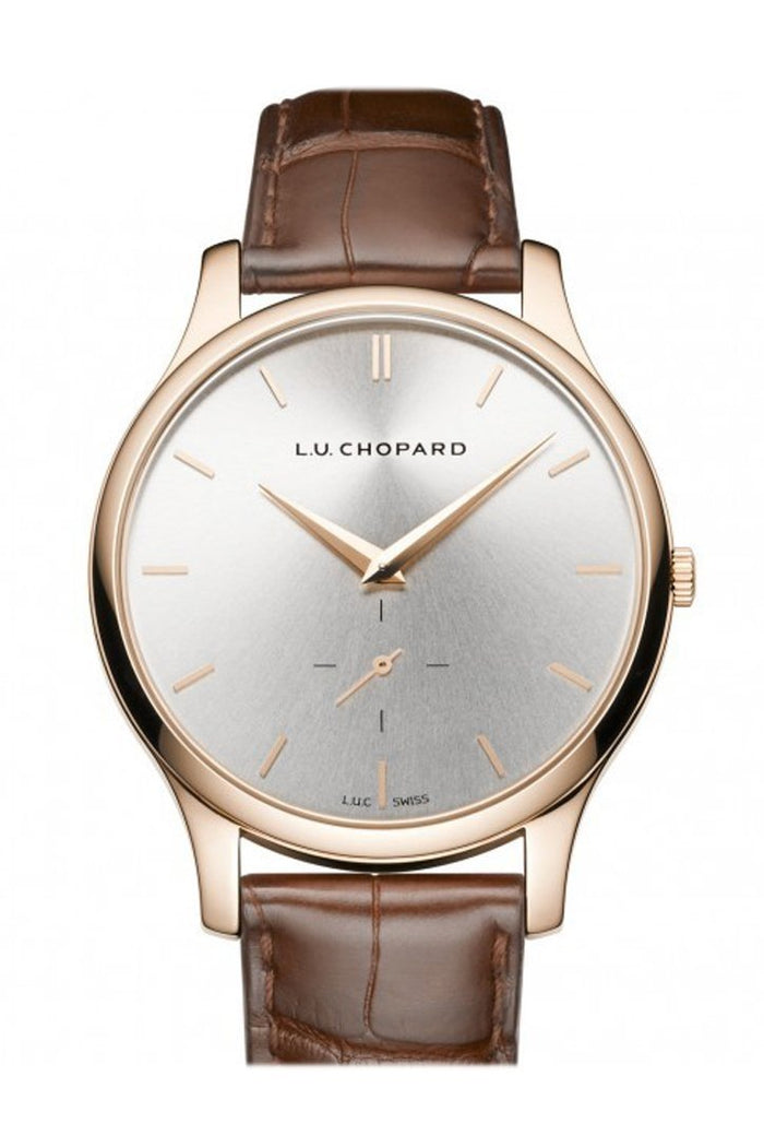 Chopard L.U.C. XPS Silver Dial 18kt Rose Gold Brown Leather Ladies Watch 161920-5002