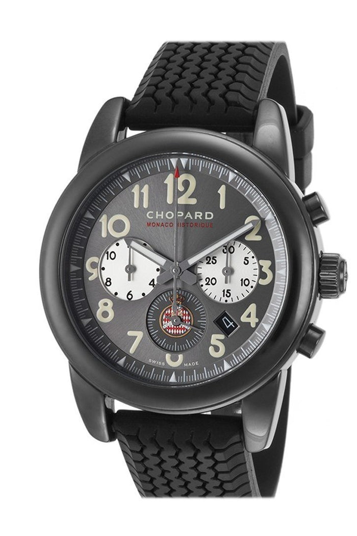 Chopard Grand Prix De Monaco Historique Grey Dial Black Rubber Automatic Men's Sports Watch 168472-3001
