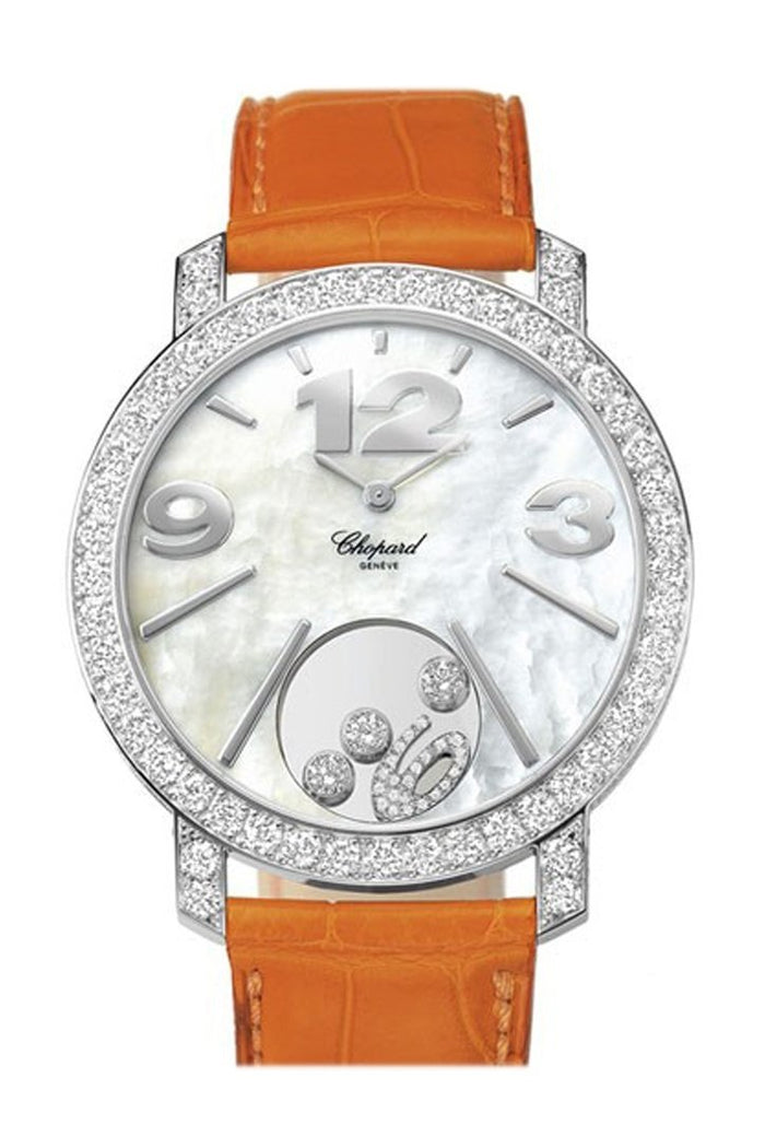 Chopard Happy Diamonds Mother of Pearl Dial 18kt White Gold Diamond Leather Ladies Watch 207450-1005