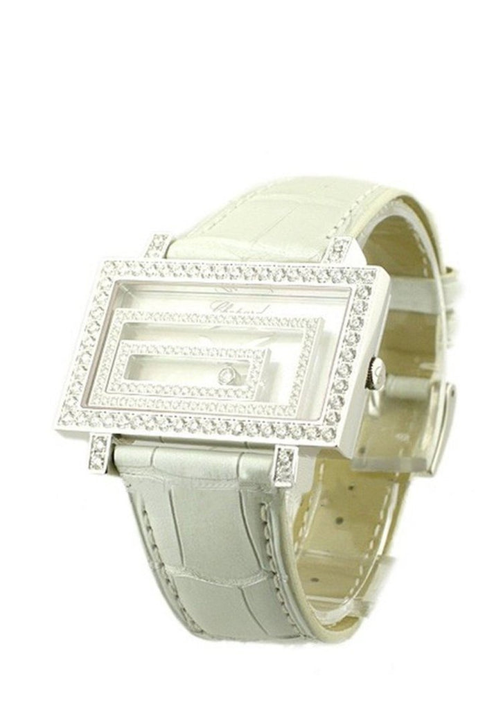 Chopard Happy Spirit in White Gold with Diamond Bezel White Alligator Leather Stra 209168-1001