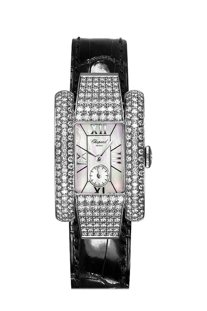 Chopard La Strada in White Gold Diamond Bezel  Black Crocodile Leather Strap 416847-1001