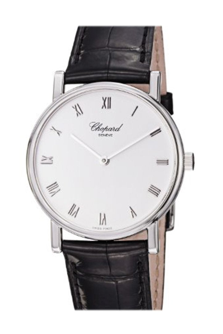 Chopard LUC on strap White Dial Diamond Bezel Black Croc 173154/1001