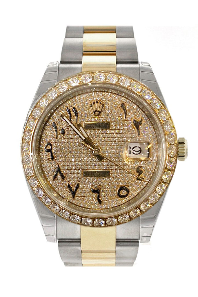 Custom Diamond Rolex Datejust 41 18K Rose Gold Two Tone Mens Watch 126303