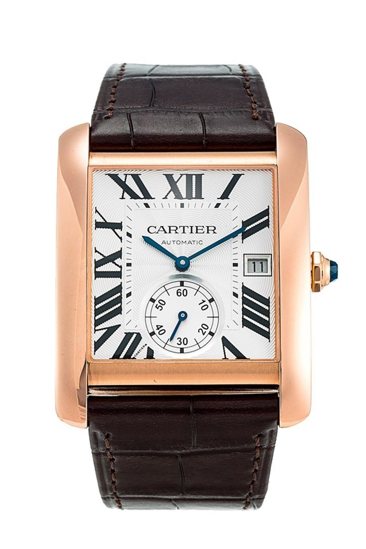 Cartier Tank Mc Mechanical Silver Dial Brown Leather Strap Mens Watch W5330001 / None