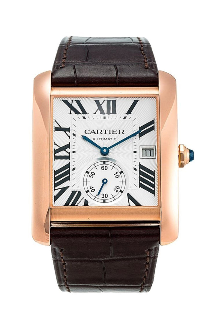 Cartier Tank MC Mechanical Silver Dial Brown Leather Strap Men's Watch W5330001