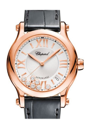 Chopard Happy Sport 36Mm Silver Guilloche Dial 18K Rose Gold And Diamonds Ladies Watch 274808-5001 /
