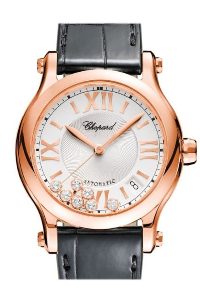 Chopard Happy Sport 36mm Silver Guilloche Dial  18k Rose Gold and Diamonds Ladies Watch 274808-5001