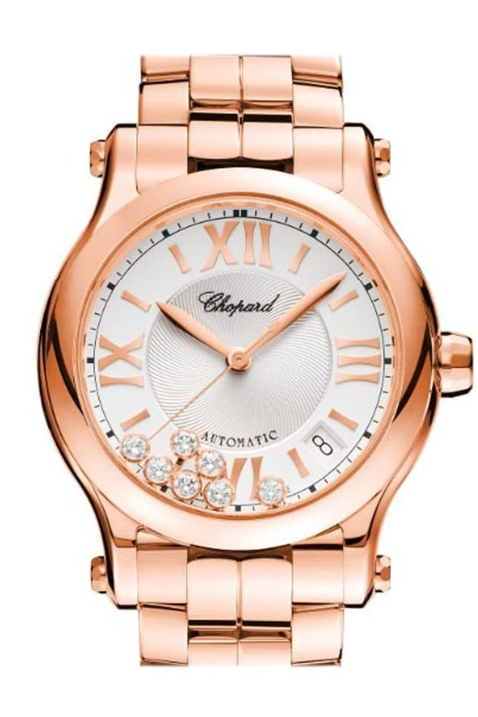 Chopard Happy Sport 36Mm 18K Rose Gold And Diamonds Automatic Watch 274808-5002 Silver / None