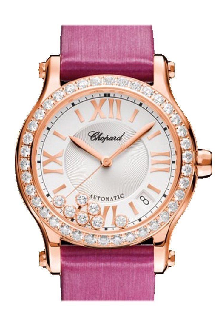 Chopard Happy Sport 36Mm 18K Rose Gold And Diamonds Automatic Watch 274808-5003 Silver / None