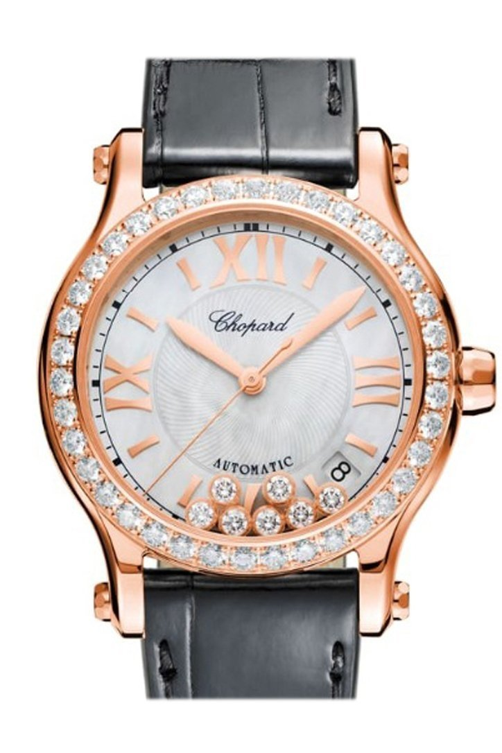 Chopard Happy Sport 36Mm 18K Rose Gold And Diamonds Automatic Watch 274808-5006 Silver