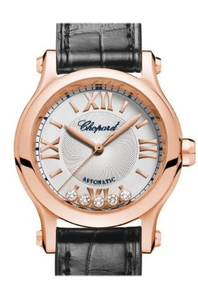 Chopard Happy Sport 30Mm 18K Rose Gold And Diamonds Automatic Watch 274893-5001 Silver / None