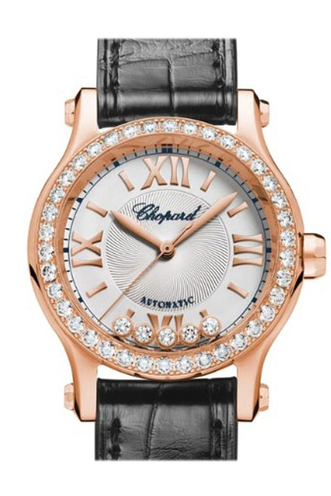 Chopard Happy Sport 30Mm18K Rose Gold And Diamonds Automatic Watch 274893-5002 Silver