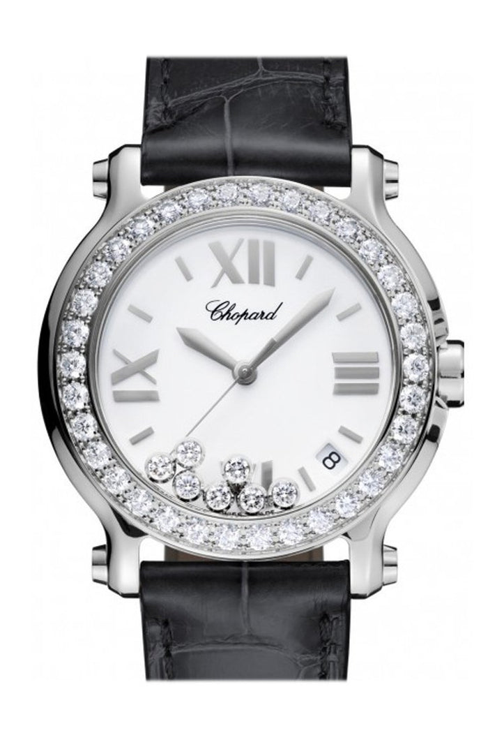 Chopard Happy Sport 36mm Diamonds Set on Bezel 7 Floating Diamonds Inside Dial Watch 278475-3037