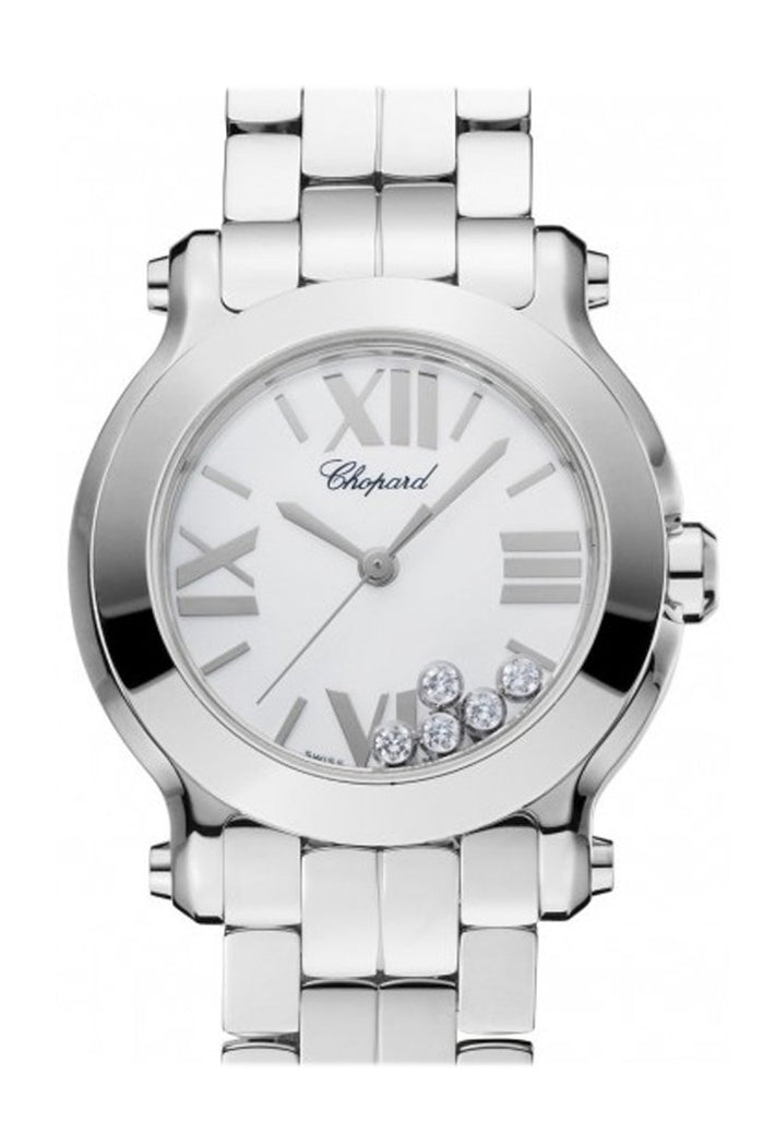 Chopard Happy Sport 30mm 5 Floating Diamonds Inside Dial  Ladies Watch 278509-3002