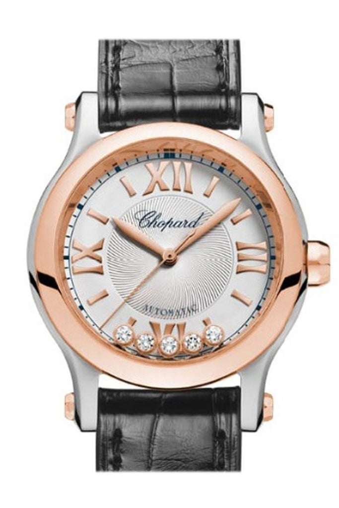 Chopard Happy Sport 30Mm 18Kt Rose Gold Stainless Steel And Diamonds Automatic Watch 278573-6001