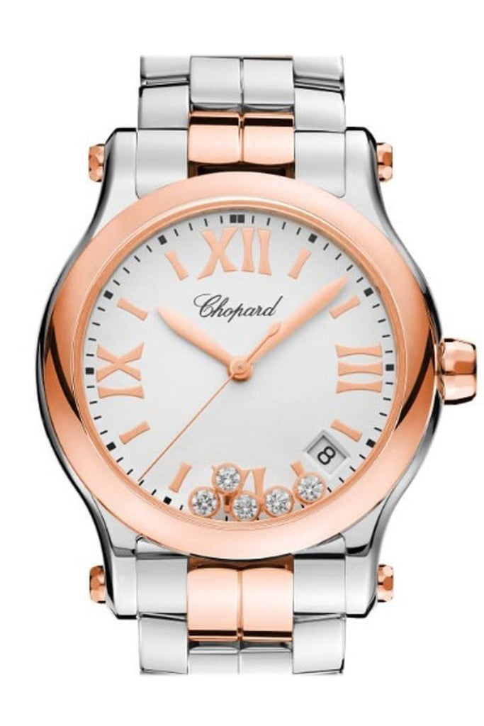 Chopard Happy Sport 36Mm Quartz 18K Rose Gold Stainless Steel And Diamonds Watch 278582-6002 Silver