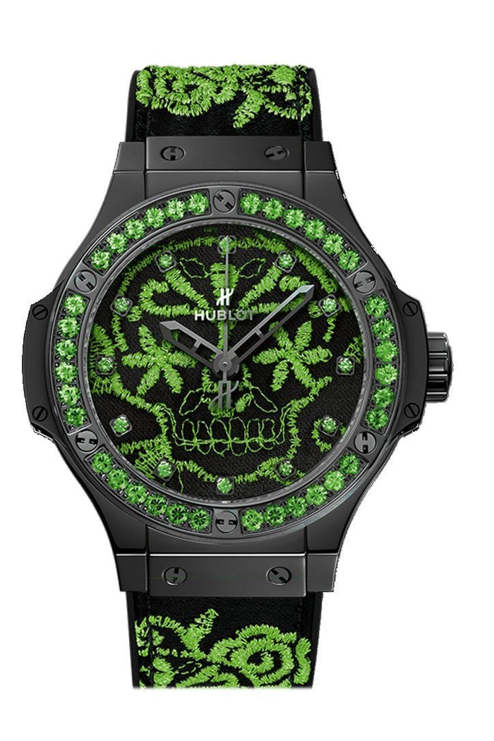 Hublot Big Bang 41mm Broderie Sugar Skull Fluo Malachik Green Watch 343.CG.6590.NR.1222