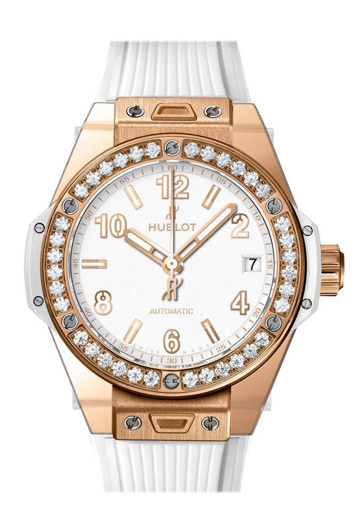 Hublot Big Bang White Dial Diamond Bezel White Rubber 38mm Unisex Watch 465.OE.2080.RW.1204