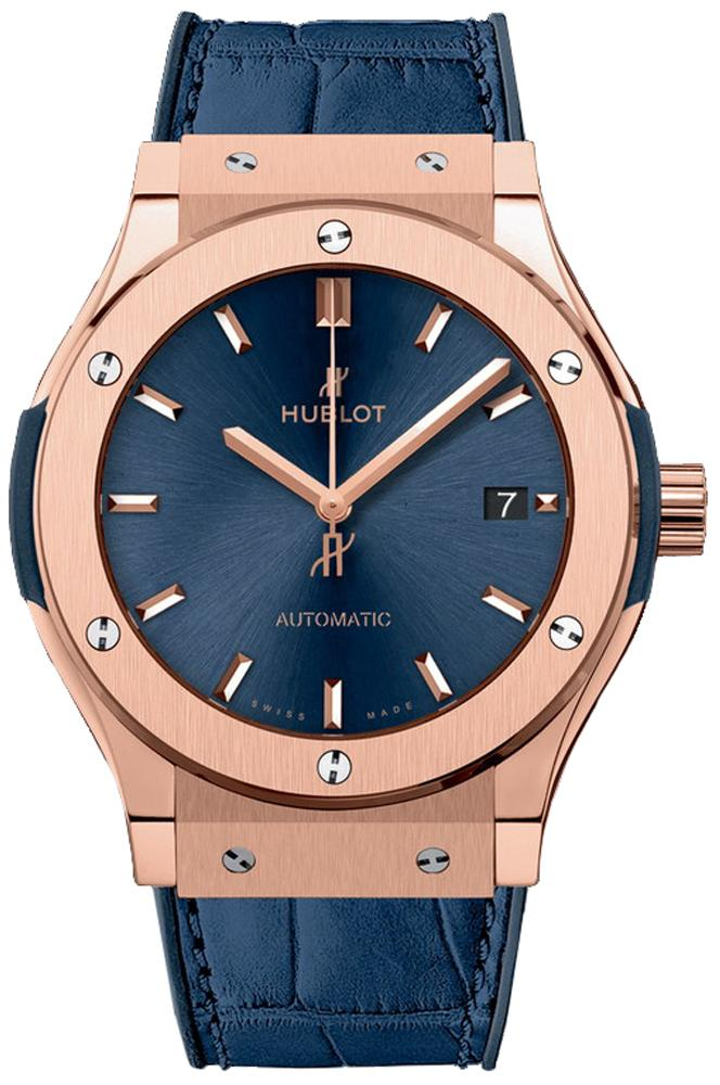 Hublot Classic Fusion Blue Sunray Dial 18K King Gold Automatic 45mm Men's Watch 511.OX.7180.LR