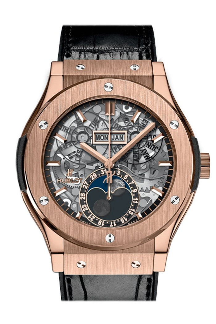 Hublot Classic Fusion Aerofusion Moonphase Sapphire Dial 18k King Gold 45mm Men's Watch 517.OX.0170.LR