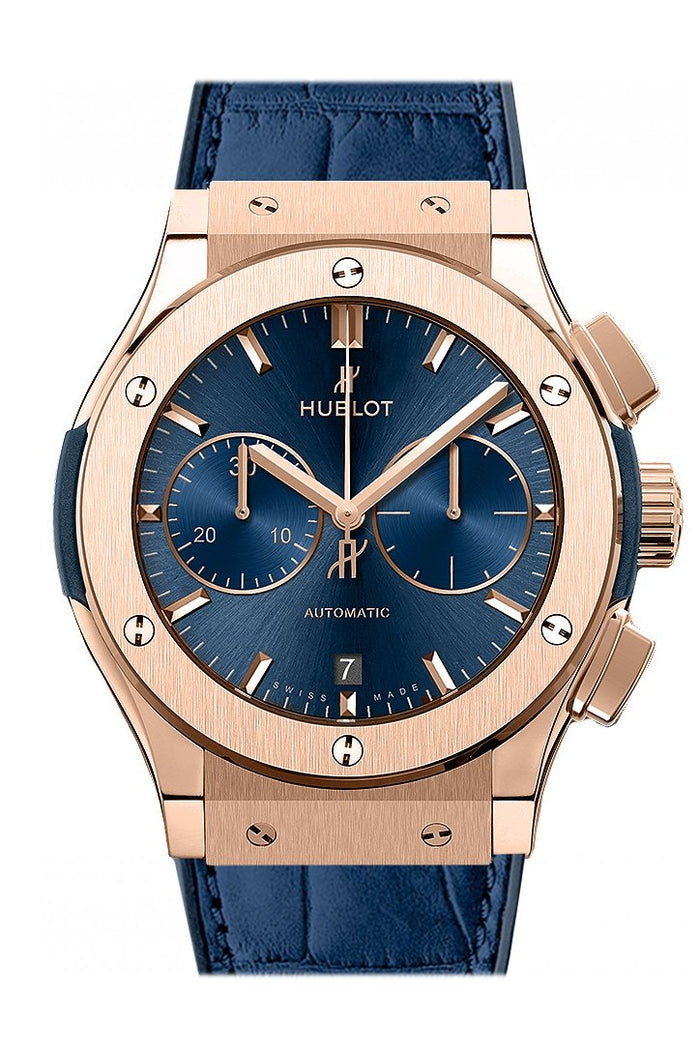 Hublot Classic Fusion Blue Sunray Dial 18K King Gold Automatic 45mm Men's Watch 521.OX.7180.LR