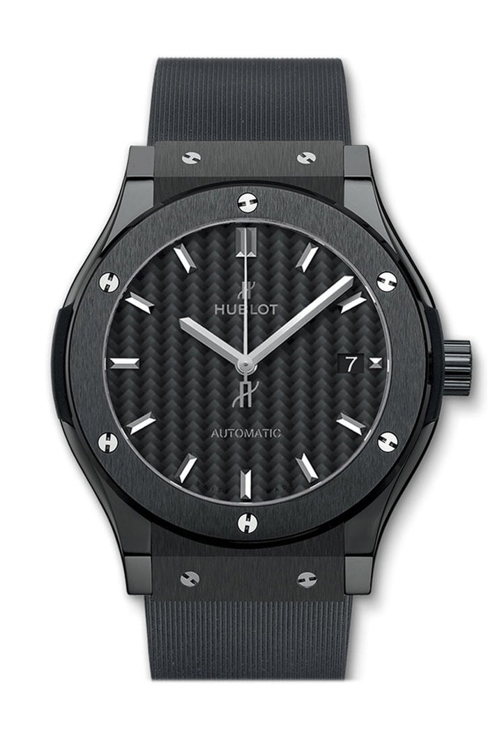 Hublot Classic Fusion Automatic Black Carbon Fiber Dial Black Rubber 45mm Men's Watch 542.CM.1771.RX