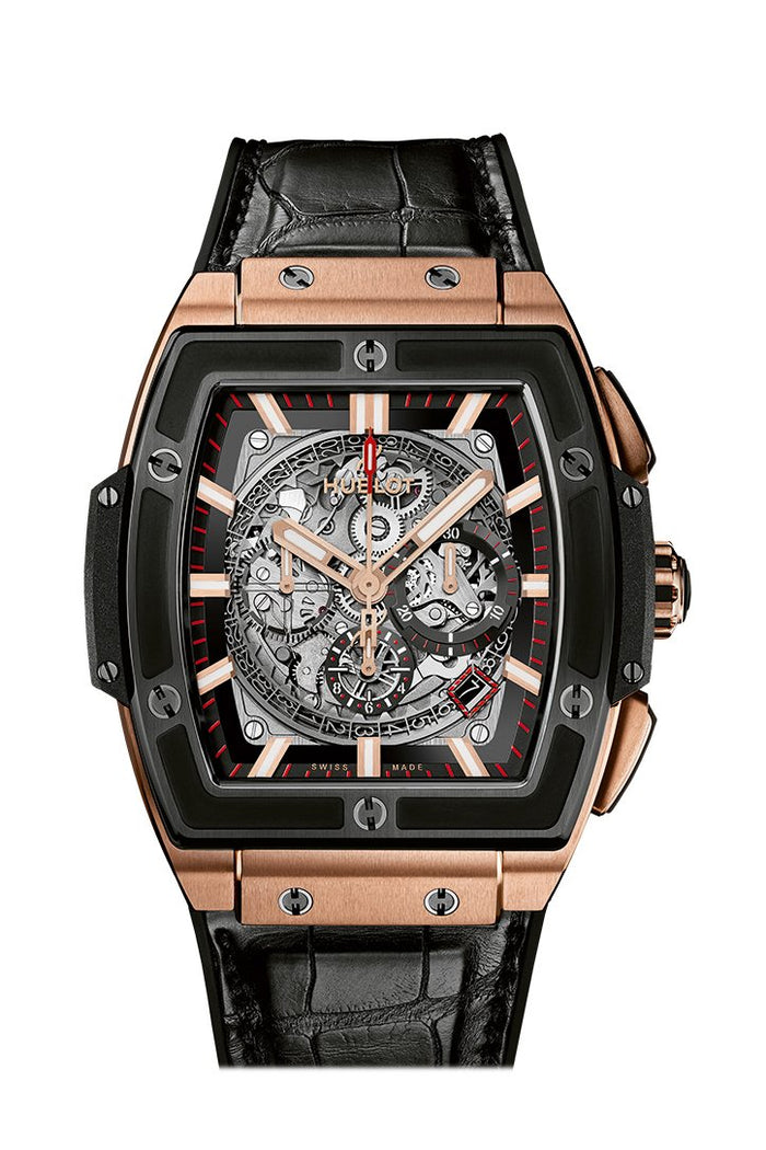 Hublot Spirit Of Big Bang Square Skeleton Dial Black Rubber Band Automatic 45mm Men's Watch  601.OM.0183.LR