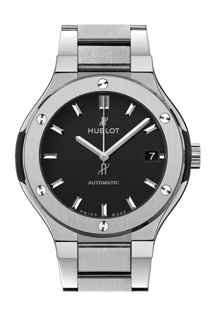 Hublot Classic Fusion Matte Black Dial Automatic Titanium Ladies Watch 585.NX.1170.NX