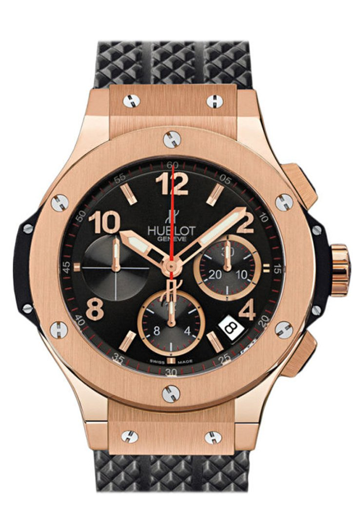 Hublot Big Bang 18kt Rose Gold Black Dial Black Rubber Men's Watch 301.PX.130.RX