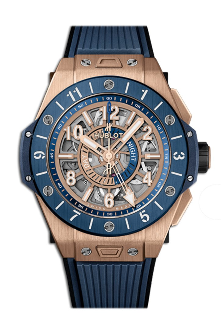 Hublot Big Bang Unico King Gold Blue Ceramic GMT Men's Watch 471.OL.7128.RX