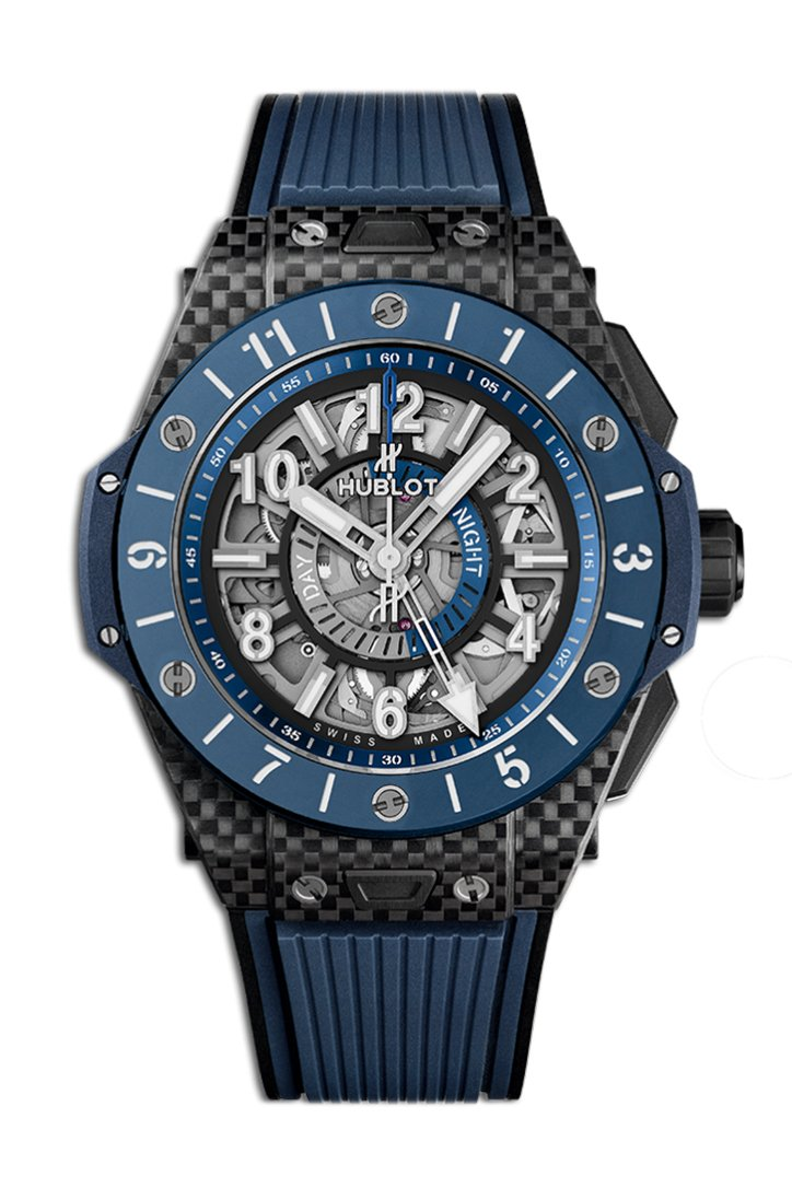 Hublot Big Bang Unico Gmt Carbon Blue Ceramic Men's Watch 471.QL.7127.RX