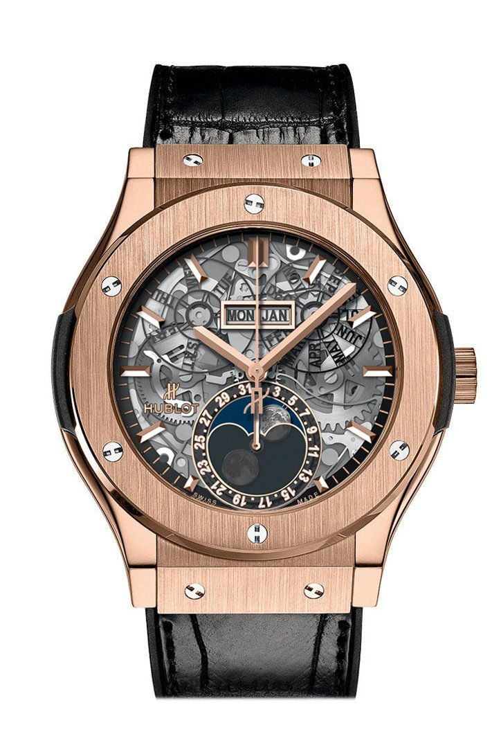 Hublot Classic Fusion Hand Wind Skeleton Dial Black Leather Men's Watch 517.OX.0180.LR