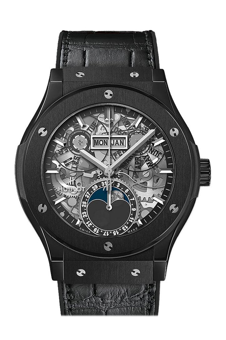 Hublot Classic Fusion Aerofusion Moonphase Black Magic Automatic Silver Dial Mens Watch