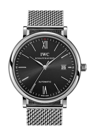 Iwc Portofino Black Dial Stainless Steel 40Mm Mens Watch Iw356506