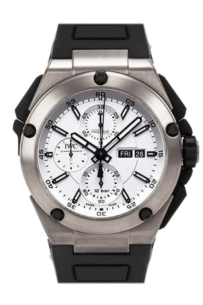 IWC Ingenieur Double Chronograph Silver Dial Rubber Strap Automatic 45mm Men's Watch IW386501
