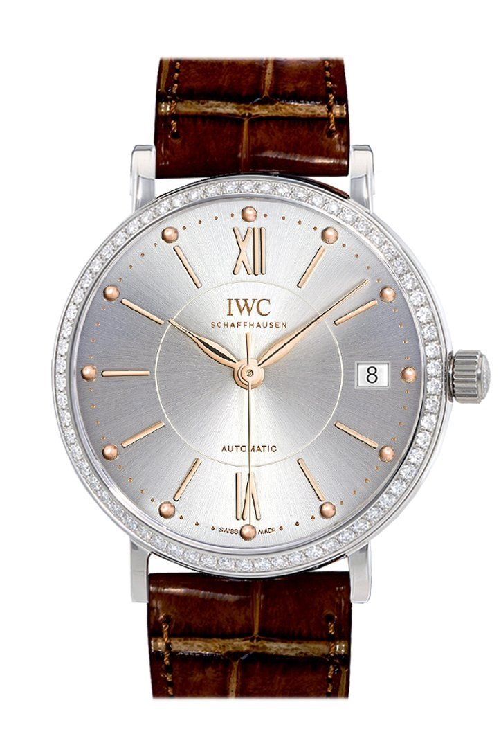 Iwc Portofino Automatic Silver Dial Diamond 37Mm Mens Watch Iw458103