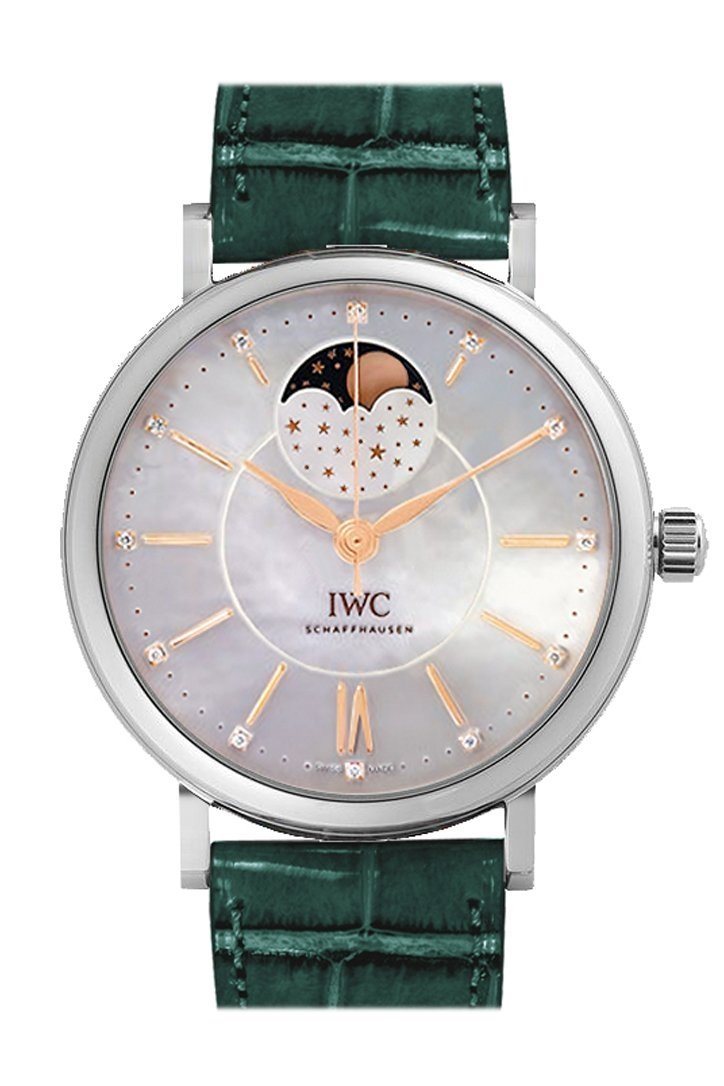 Iwc Portofino 37Mm White Mother Of Pearl Dial Automatic Ladies Watch Iw459007 Blue