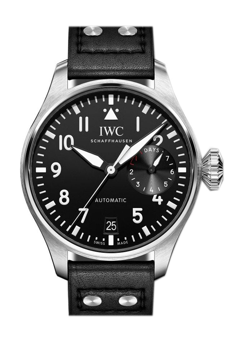 Iwc Big Pilot Black Dial Automatic 46Mm Mens Watch Iw500912 Silver