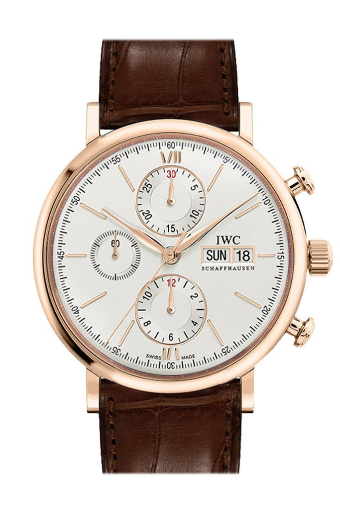 Iwc Portofino Chronograph Silver Dial Brown Alligator Leather Mens Watch Iw391020