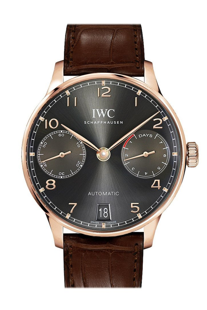 IWC Portugeiser Slate Grey Dial 18K Rose Gold Automatic 42mm Men's Watch IW500702