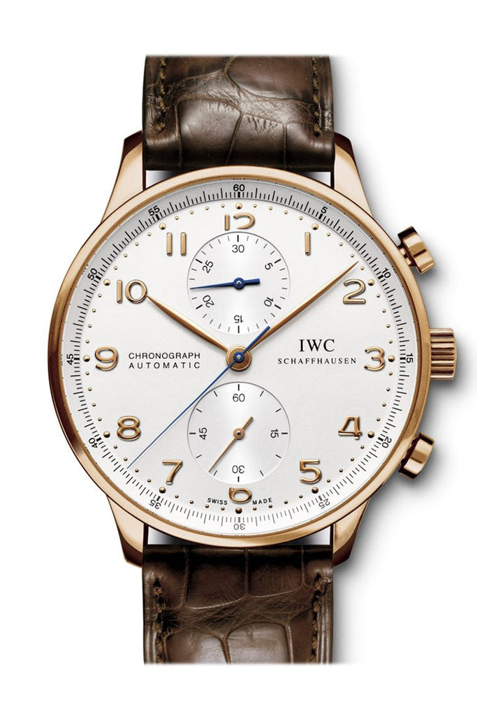 Iwc Portuguese Silver Dial Chronograph Rose Gold Leather Automatic Mens Watch Iw371480