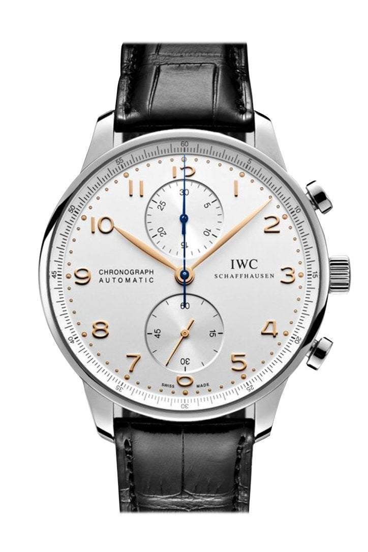 IWC Portofino Chronograph Silver Dial Brown Alligator Leather Men's Watch IW391020