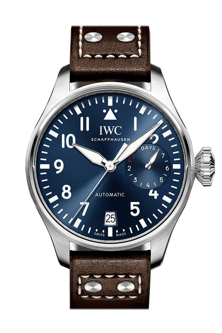 IWC Double Chronograph Pilot Black Dial Black Leather 46mm Men's Watch IW377801