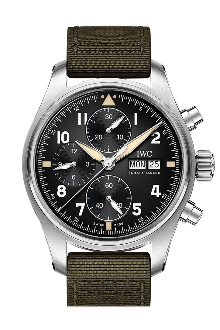 Iwc Pilot Spitfire Chronograph Automatic Black Dial Mens Watch Iw387901