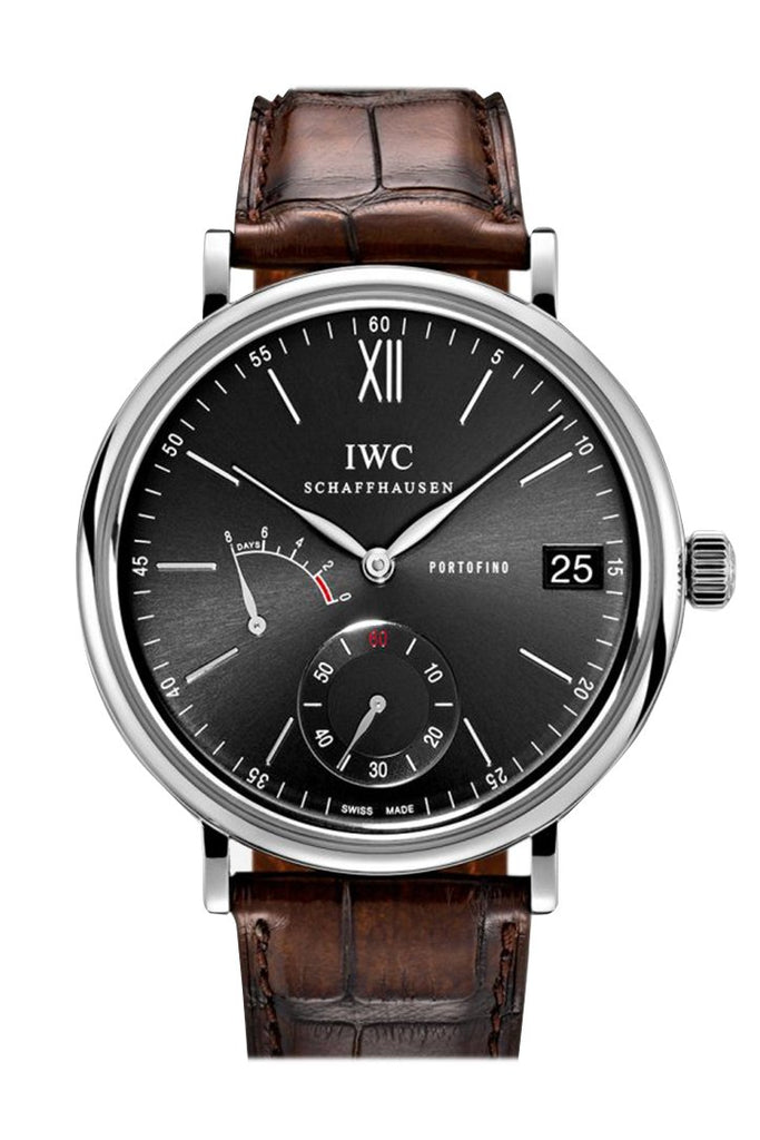 Iwc Portofino Manual Wind Eight Days Black Dial Brown Leather Mens Watch 5101-02