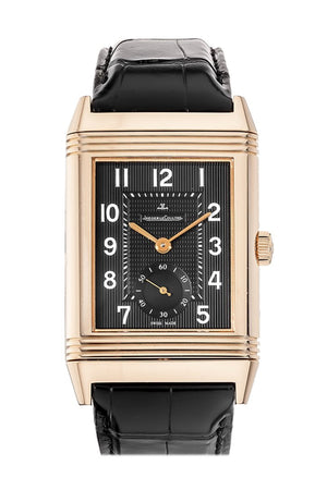 Jaeger Jlc Grand Reverso 976 Black Dial Croc Watch 3732470