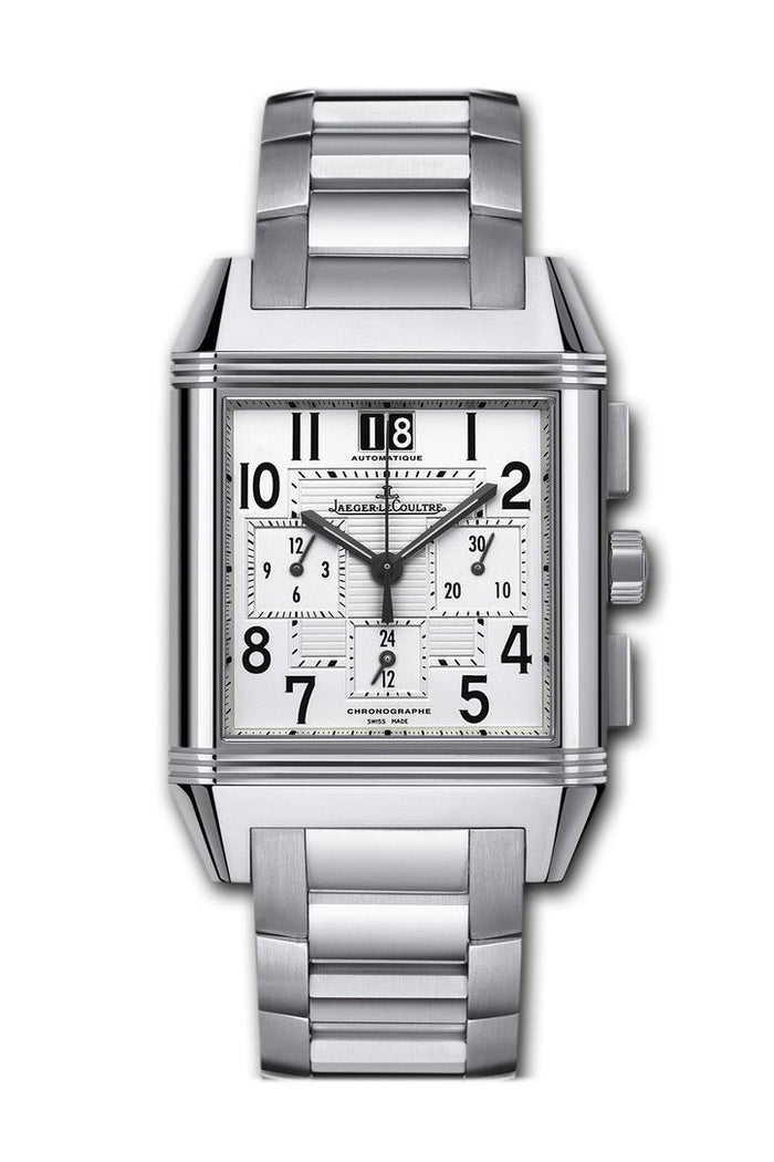 JAEGER JLC Reverso Squadra GMT Steel Silver Dial Watch 7018120