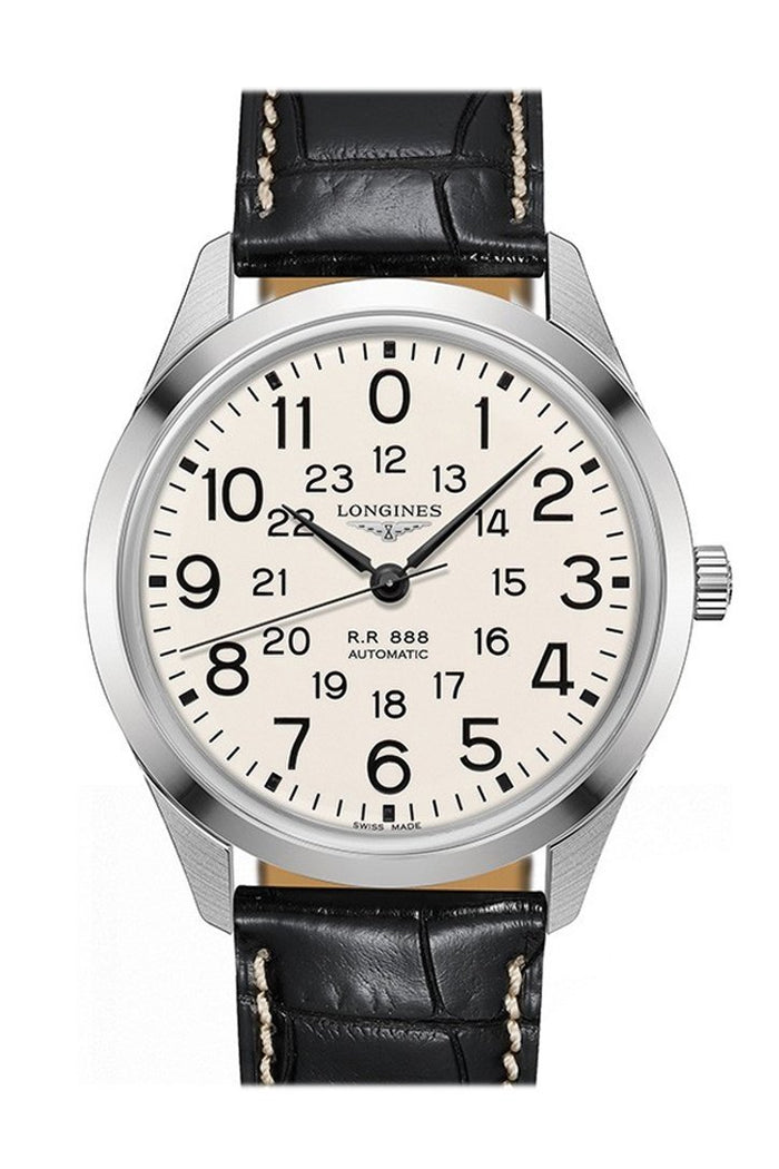 Longines Men's Swiss Automatic RailRoad Black Leather Strap Watch 40mm L28034230